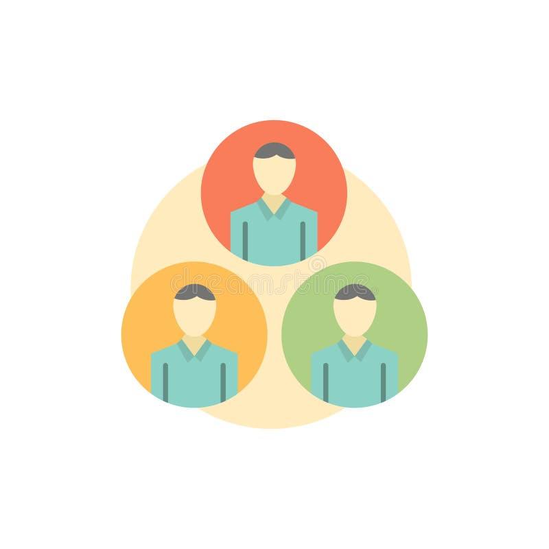 Pessoal, grupo, clone, ícone liso da cor do círculo Molde da bandeira do ícone do vetor ilustração do vetor