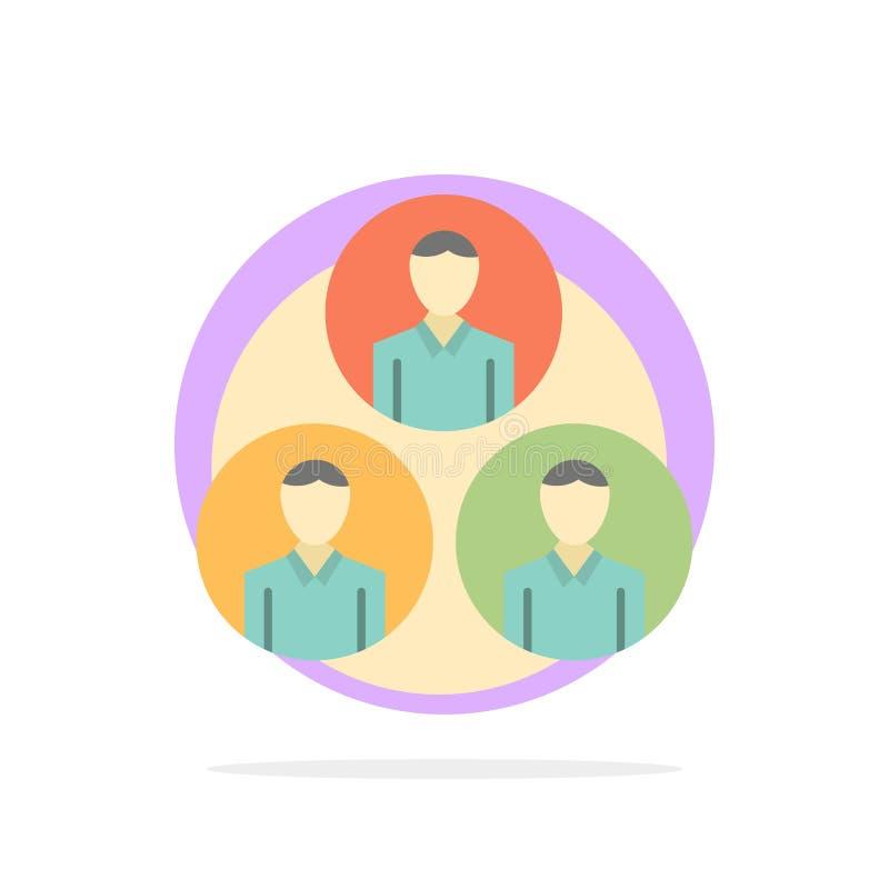 Pessoal, grupo, clone, ícone liso da cor do fundo do círculo do sumário do círculo ilustração do vetor