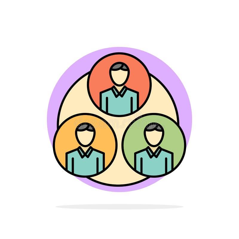 Pessoal, grupo, clone, ícone liso da cor do fundo do círculo do sumário do círculo ilustração royalty free