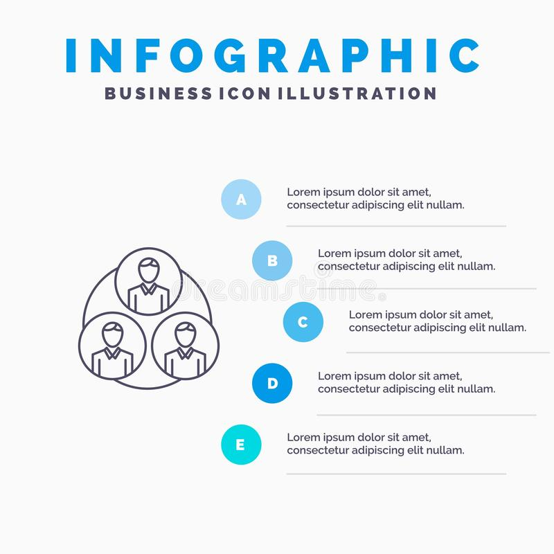 Pessoal, grupo, clone, linha ícone do círculo com fundo do infographics da apresentação de 5 etapas ilustração royalty free