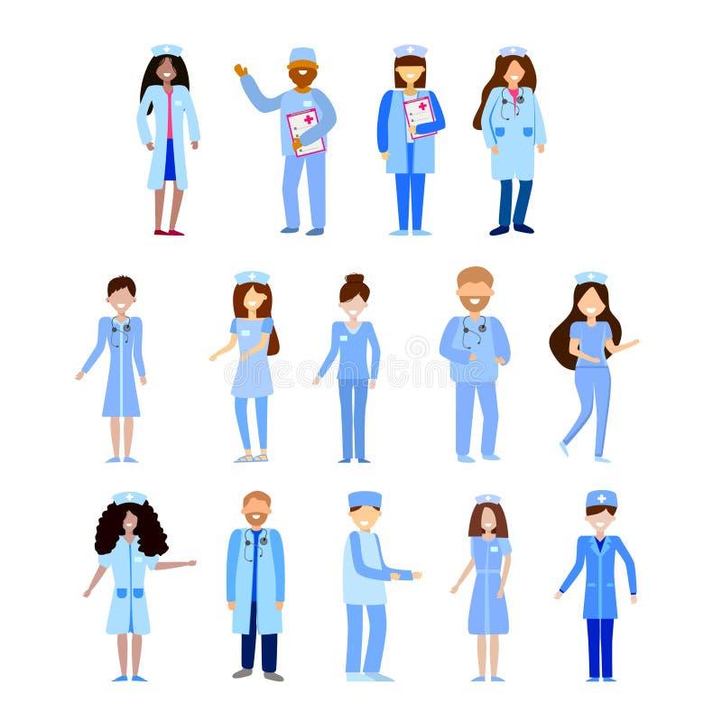 Pessoal hospitalar no uniforme enfermeiras e doutores em um estilo liso ilustração do vetor
