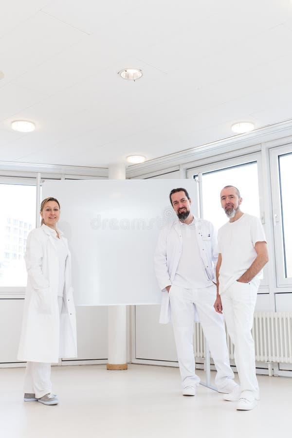 Pessoal médico na frente de um whiteboard vazio foto de stock royalty free