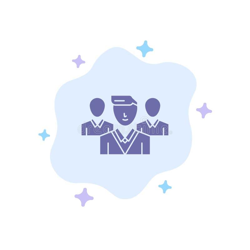 Pessoal, segurança, zona do amigo, ícone azul do grupo no fundo abstrato da nuvem ilustração stock