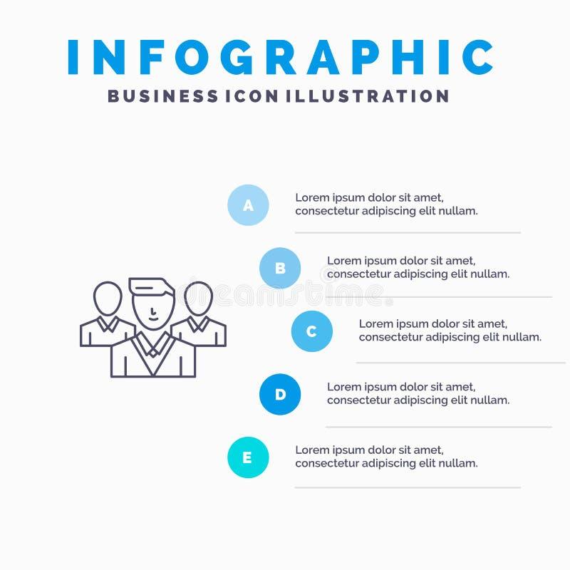 Pessoal, segurança, zona do amigo, linha ícone do grupo com fundo do infographics da apresentação de 5 etapas ilustração do vetor