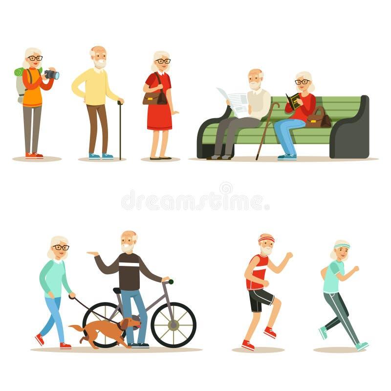 Pessoas adultas coleção completa de vida de Live And Enjoying Their Hobbies e do lazer de personagens de banda desenhada idosos d ilustração stock