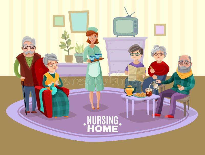 Pessoas adultas da ilustração dos cuidados ilustração royalty free