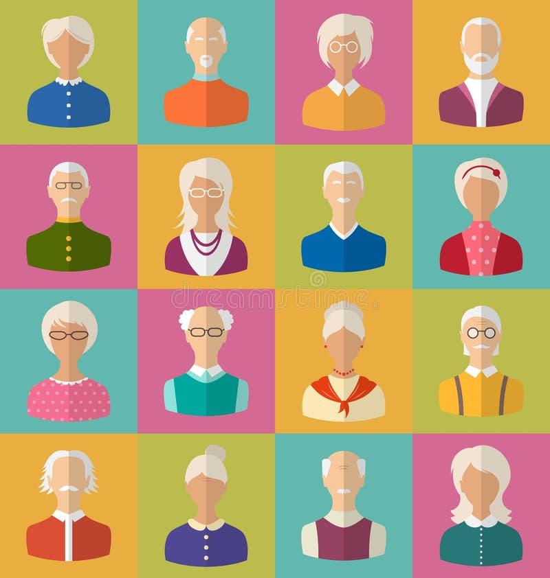 Pessoas adultas das caras das mulheres e dos homens do Cinzento-dirigido ilustração do vetor