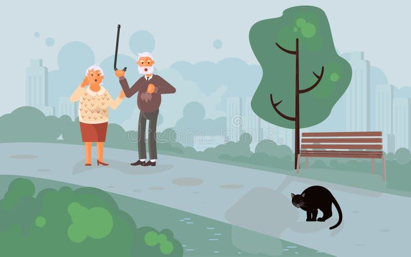 Pessoas adultas de gato preto assustado dos car?teres ilustração do vetor