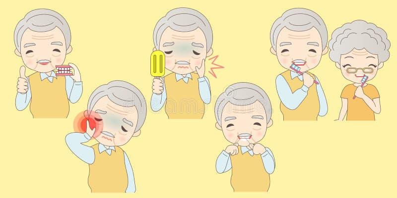 Pessoas adultas dos problemas dos cuidados dentários ilustração do vetor