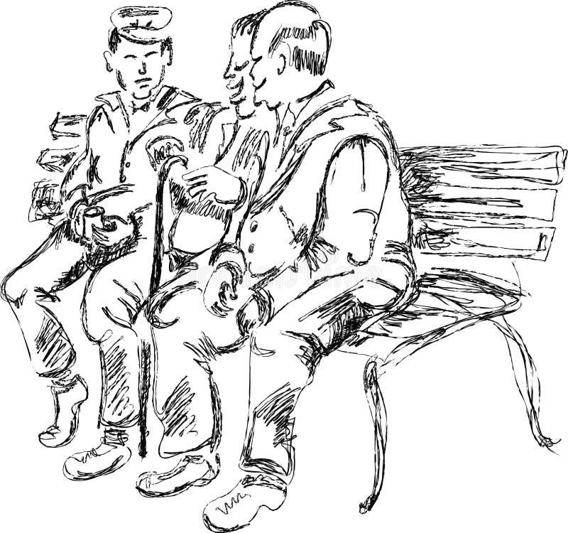 Pessoas adultas que falam no banco ilustração royalty free