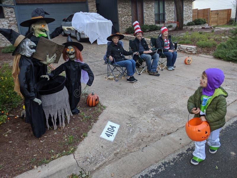 Pessoas celebrando o Halloween em Austin Texas imagens de stock royalty free
