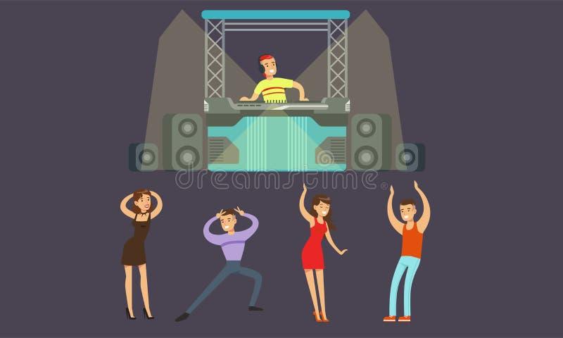 Pessoas dançando no Nightclub, DJ tocando imagem de vetor musical ilustração do vetor