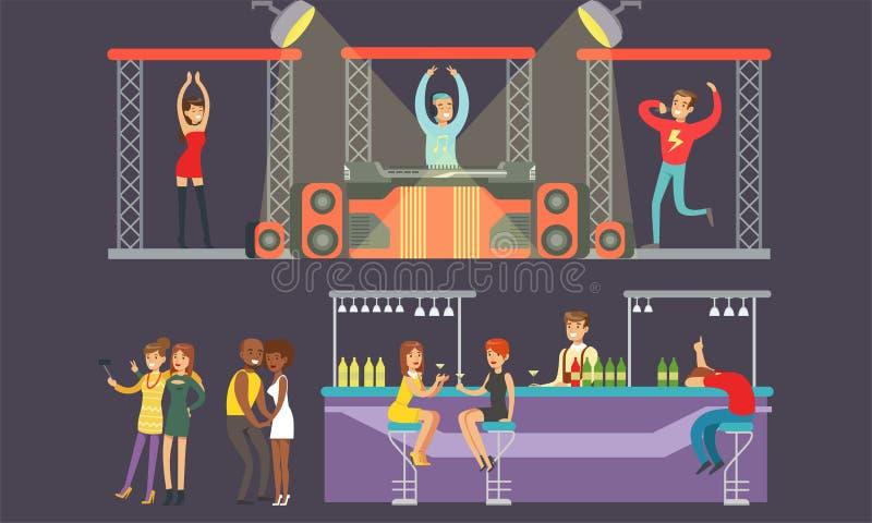 Pessoas dançando no Nightclub, Jovens Homens e Mulheres Bebendo no bar, DJ Tocando a Ilustração do Vetor de Música ilustração do vetor
