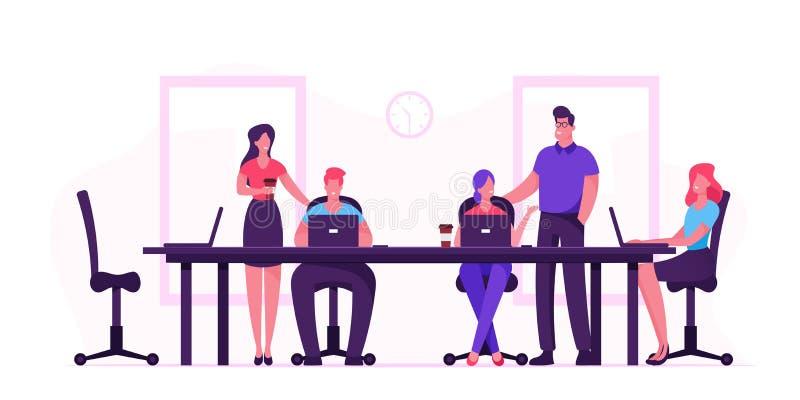 Pessoas de negócios sentadas em uma mesa durante a reunião de conselho debatendo ideias no escritório Desenvolvimento de projetos ilustração royalty free
