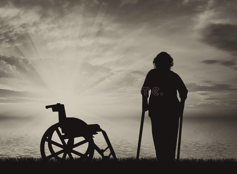 Pessoas deficientes em muletas no mar e na cadeira de rodas ilustração do vetor