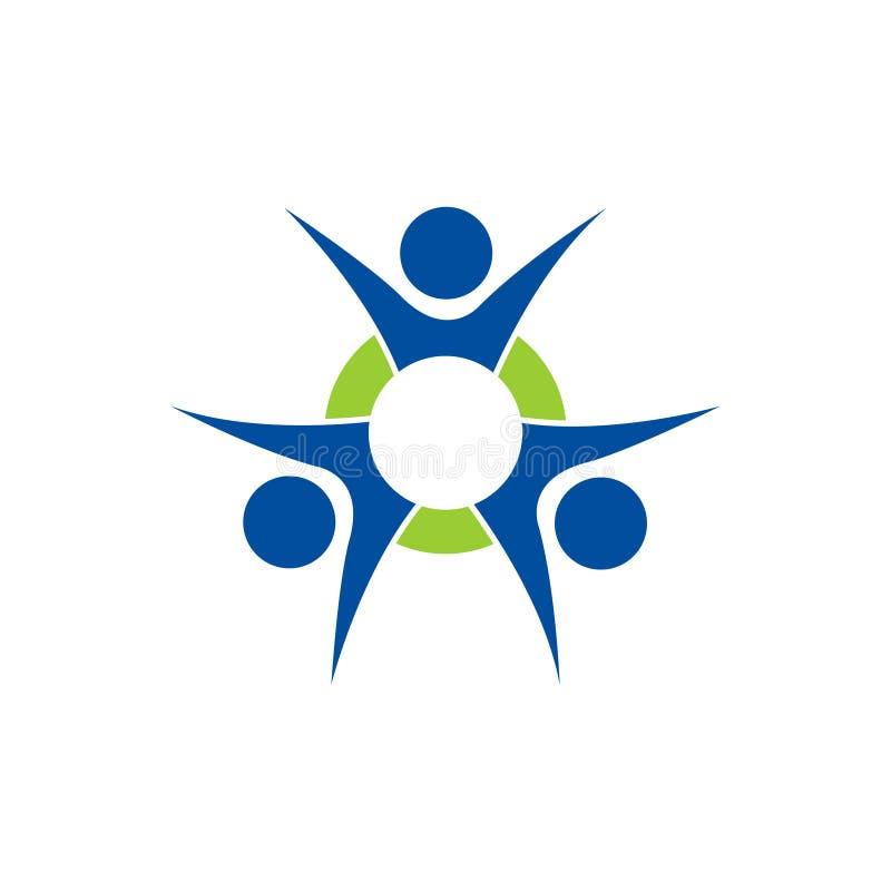 3 pessoas e círculo do logotipo do ícone da ilustração do vetor ilustração stock