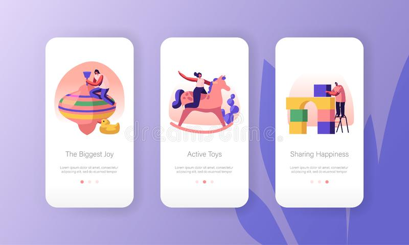 Pessoas felizes jogando com Kids Toys Mobile App Page On-Board Set Jogos Ativos de Caracteres Masculinos e Femininos ilustração do vetor
