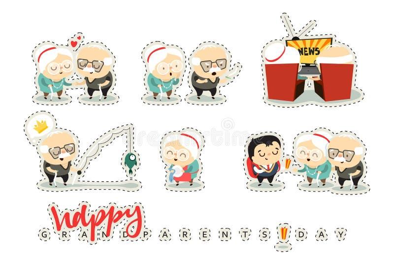 Pessoas idosas dos caráteres, avós Povos bonitos da garatuja ilustração do vetor
