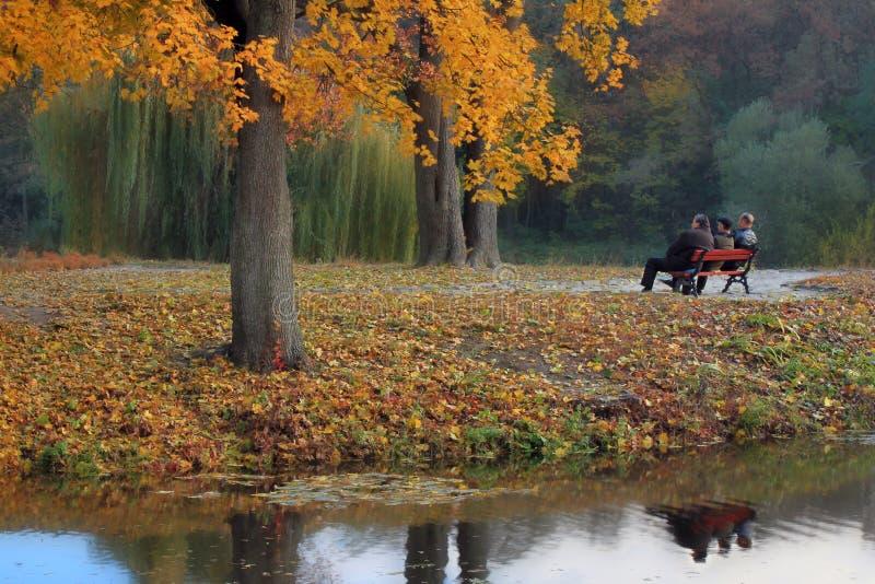 Pessoas idosas douradas do outono foto de stock