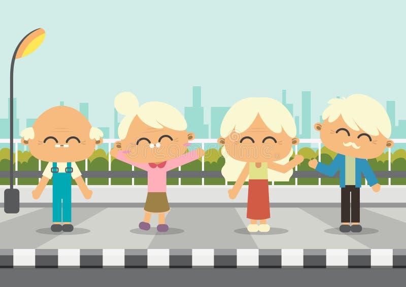 Pessoas idosas no sideway ilustração royalty free