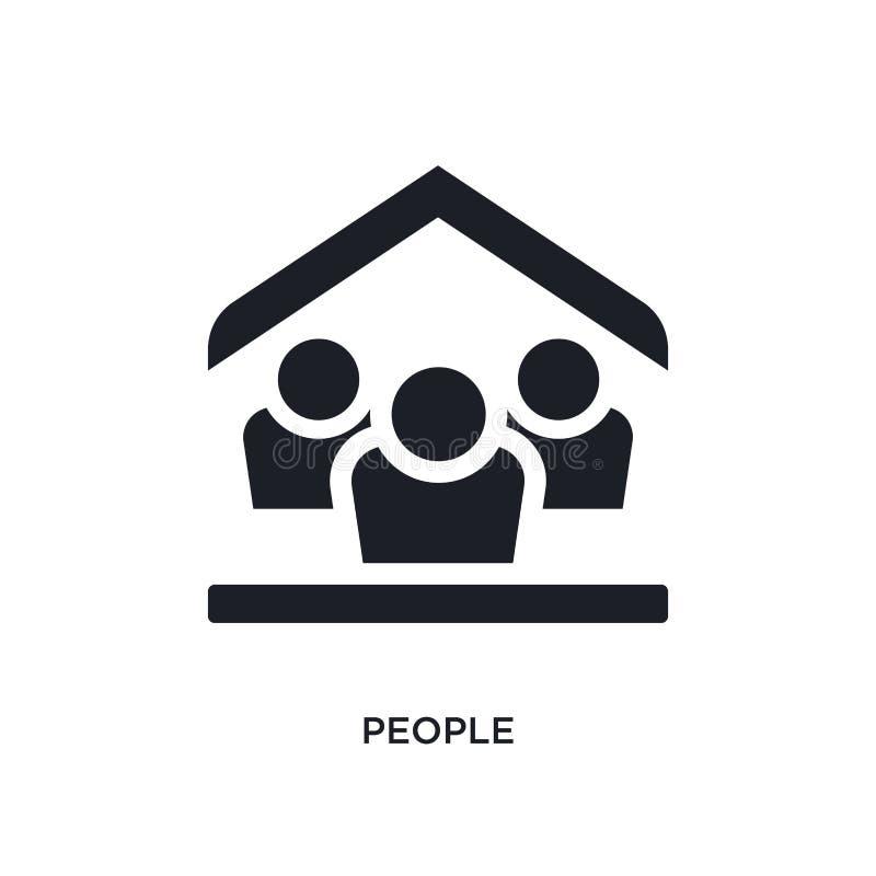 pessoas negras do ícone isolado do vetor ilustração simples do elemento dos ícones do vetor do conceito da acomodação logotipo ed ilustração stock