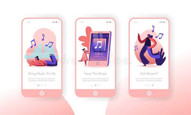 Pessoas ouvindo música no Smartphone Mobile App Page Conset de Telas Mulher Dançando, Relaxando Se Divertindo ilustração stock