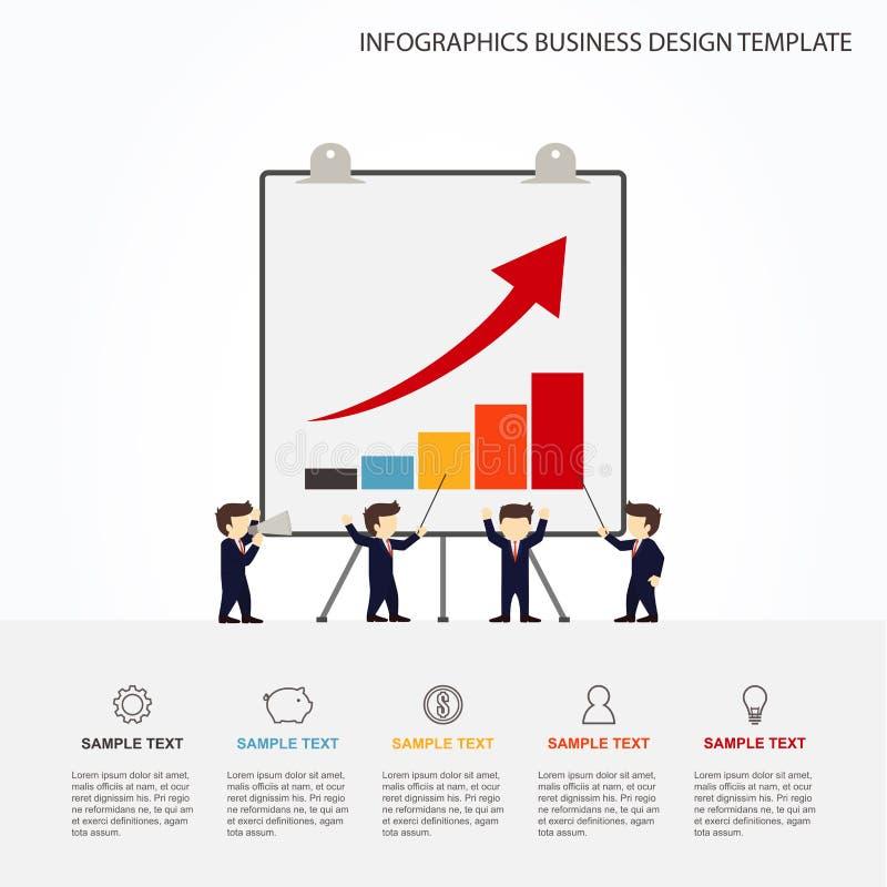 Pessoas pequenas do funcionamento dos desenhos animados com placa grande Ilustração do vetor para o projeto de negócio e infograp ilustração stock