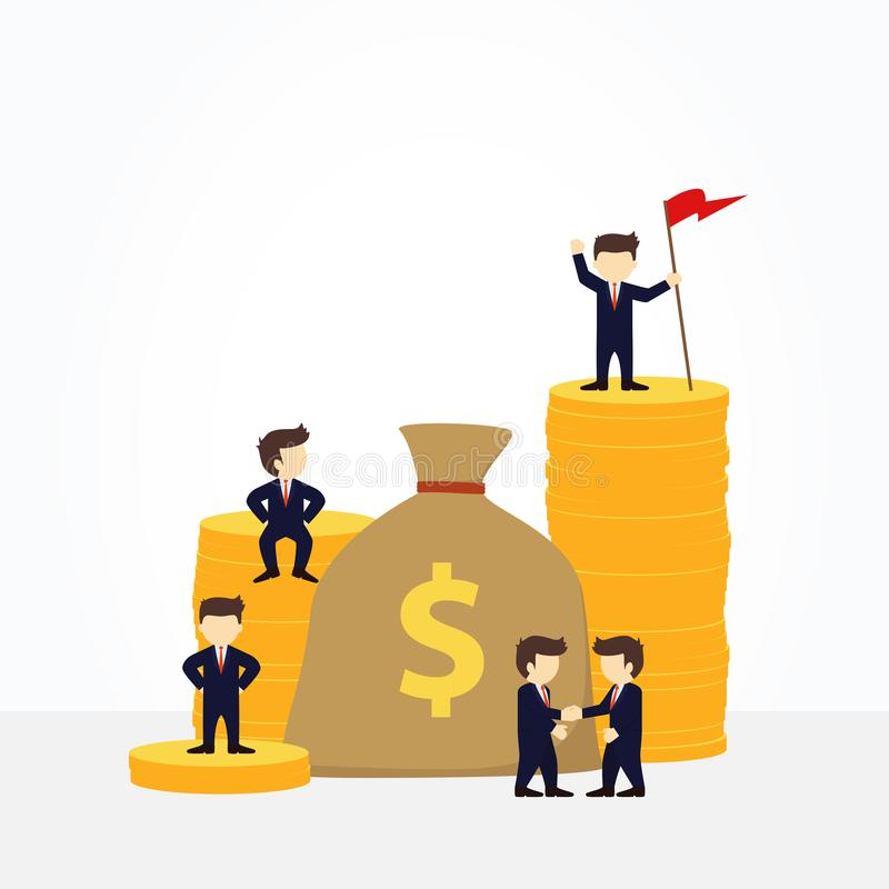 Pessoas pequenas do funcionamento dos desenhos animados com saco do dinheiro projeto de negócio e infographic ilustração stock