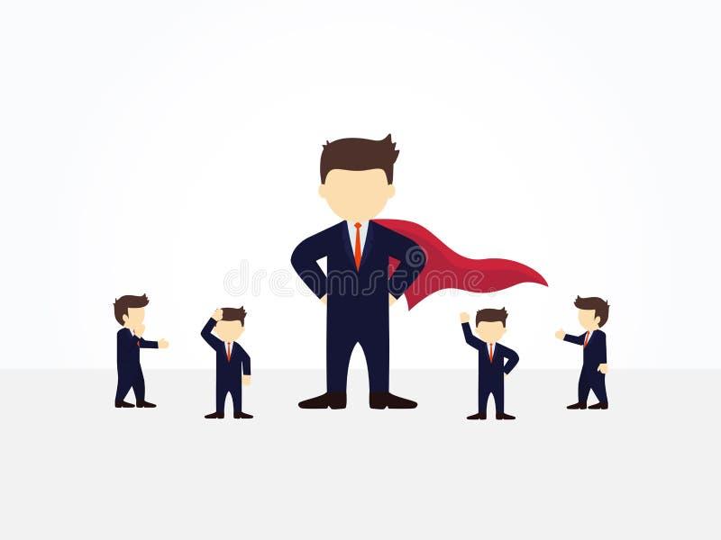 Pessoas pequenas do funcionamento dos desenhos animados com super-herói grande projeto de negócio e infographic ilustração royalty free