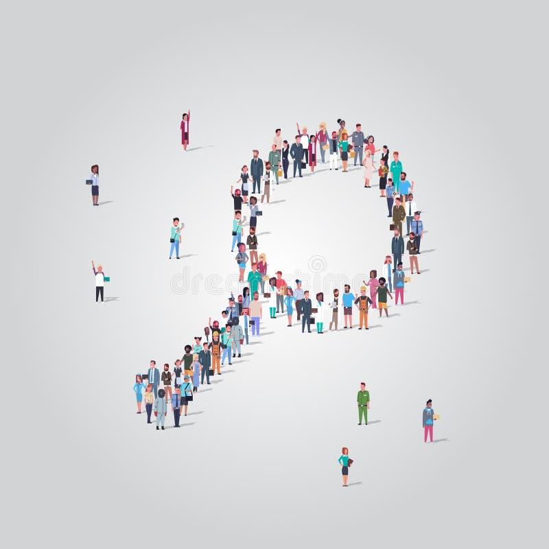 Pessoas se aglomeram em aumento de zoom formam comunidade de mídia social analisando conceito de pesquisa ocupação diferente ilustração stock