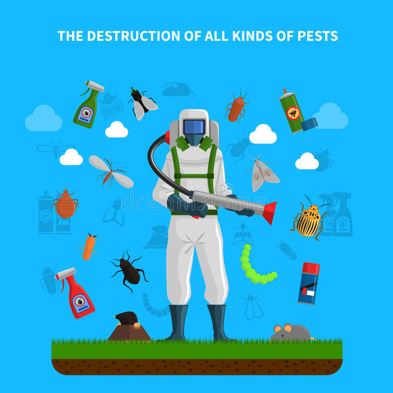 Pest Control Concept. With insects exterminator silhouette flat vector illustration vector illustration