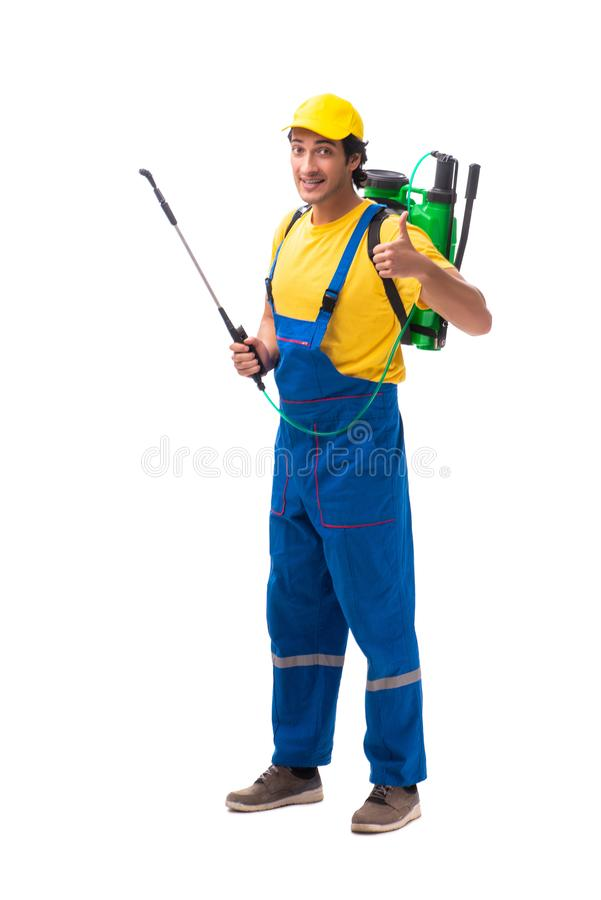 The pest control contractor isolated on white background. Pest control contractor isolated on white background stock photos
