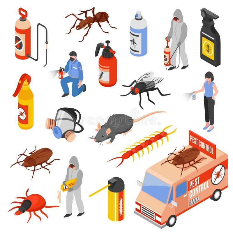 Pest Control 3d Isomeric Set stock illustration