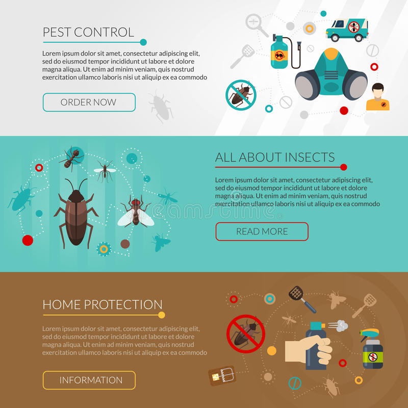 Pest Control Extermination 3 Flat Banners vector illustration