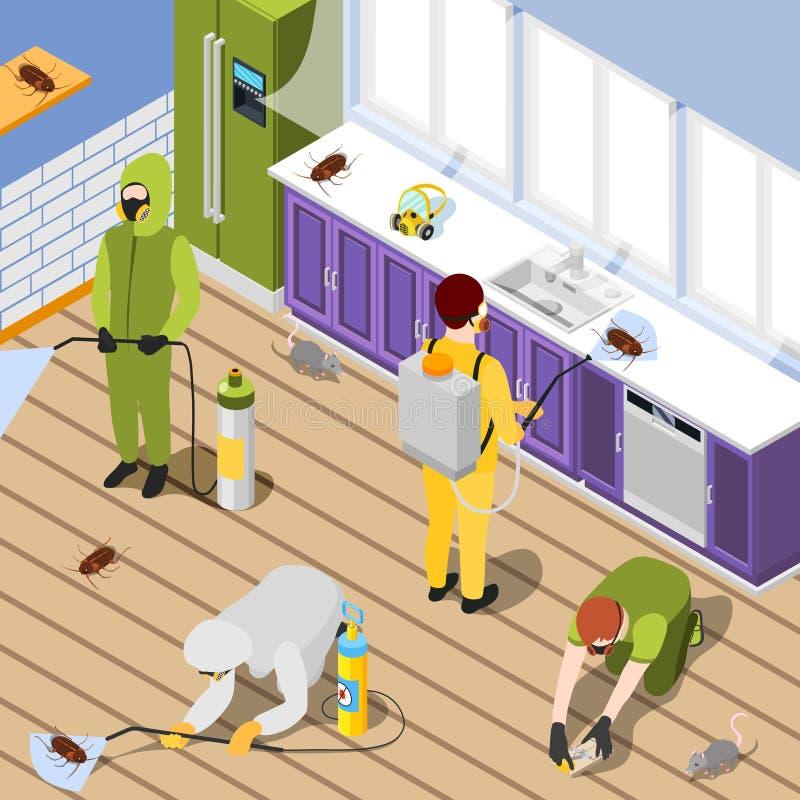 Pest Control Isometric Background royalty free illustration