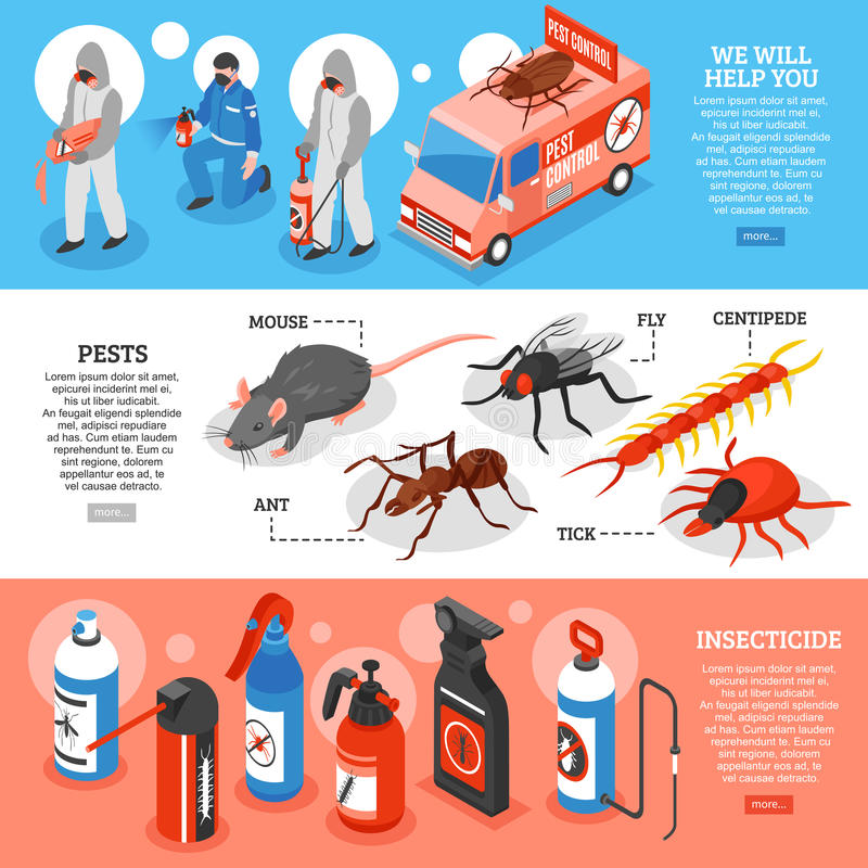 Pest Control Isometric Horizontal Banners stock illustration