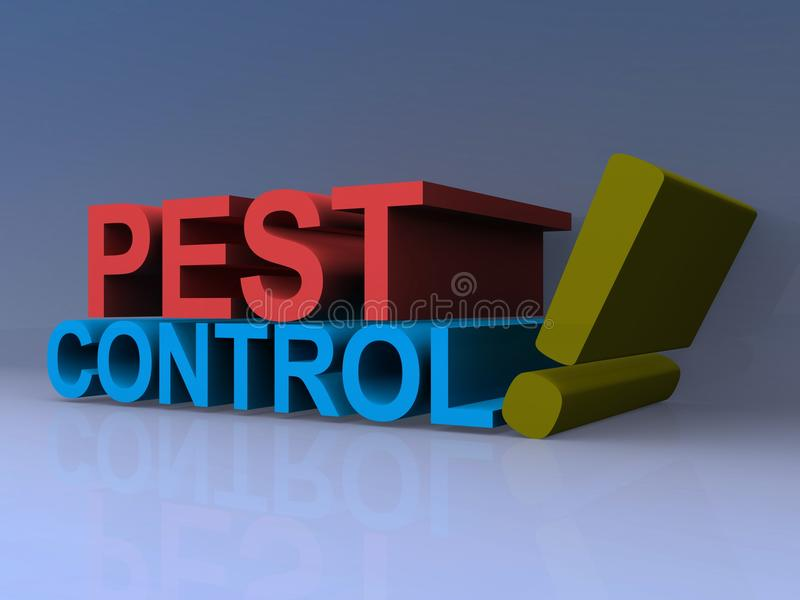 Pest control. Red and blue block lettering in 3D spelling pest control with green exclamation point on purple background stock images