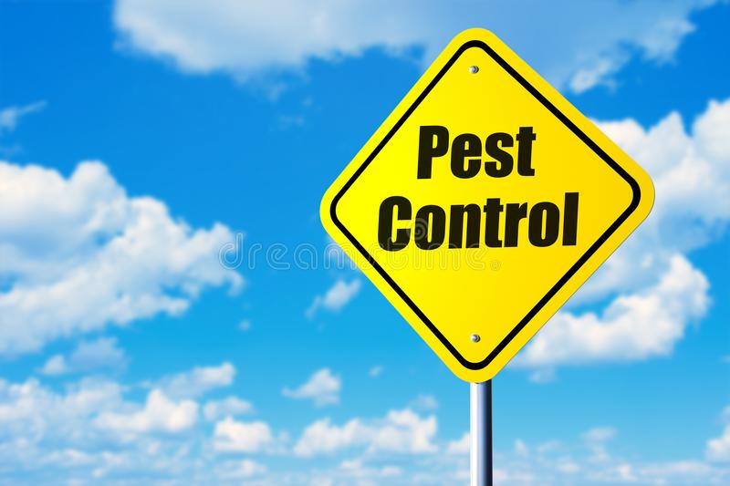 Pest control. Road sign and blue sky stock images