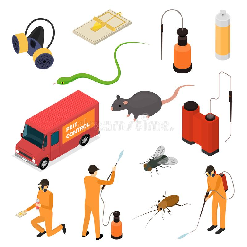 Pest Control Sign 3d Icon Set Isometric View. Vector. Pest Control Sign 3d Icon Set Isometric View Include of Rodent, Beetle, Aerosol, Trap and Worker. Vector royalty free illustration