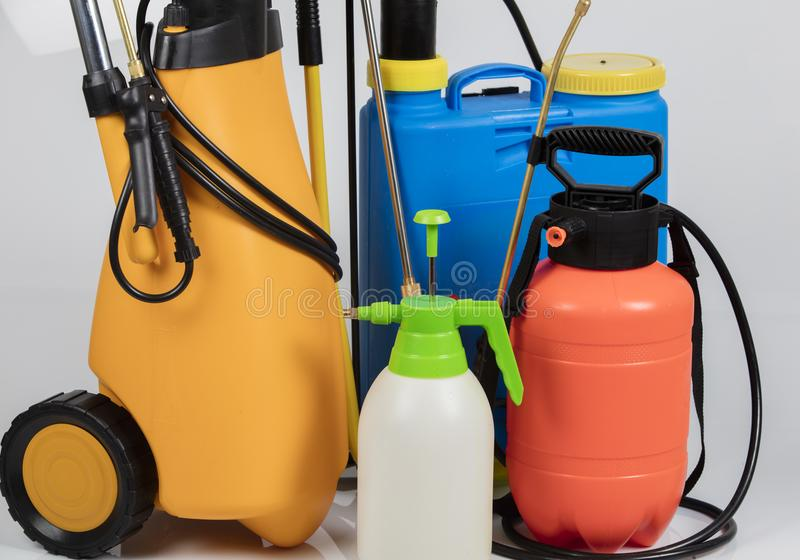 Pest control sprayers. On white background stock photo