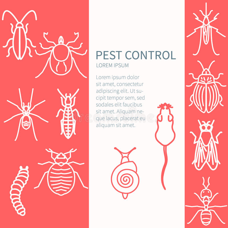 Pest control template. Pest control design template with insect line icon set and place for text. It can be used for web and mobile applications by exterminator vector illustration