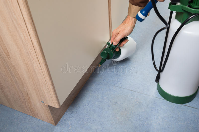 Pest control worker holding pesticides sprayer royalty free stock photo