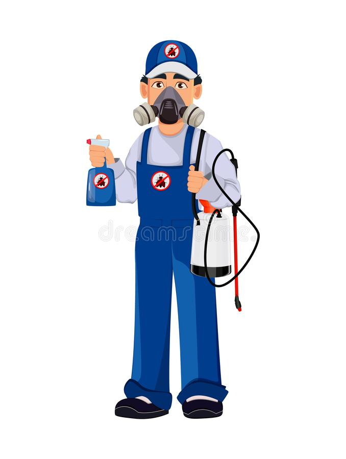 Pest control worker in protective workwear vector illustration