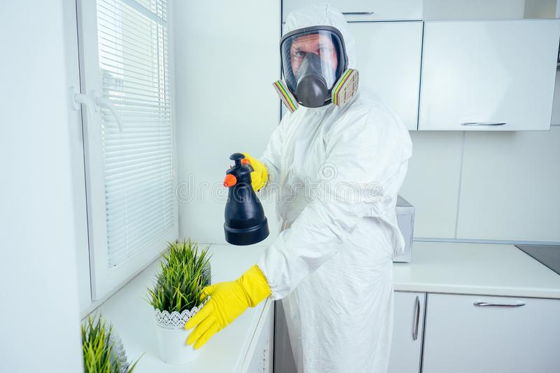 Pest control worker standing with sprayer in kitchen stock photography
