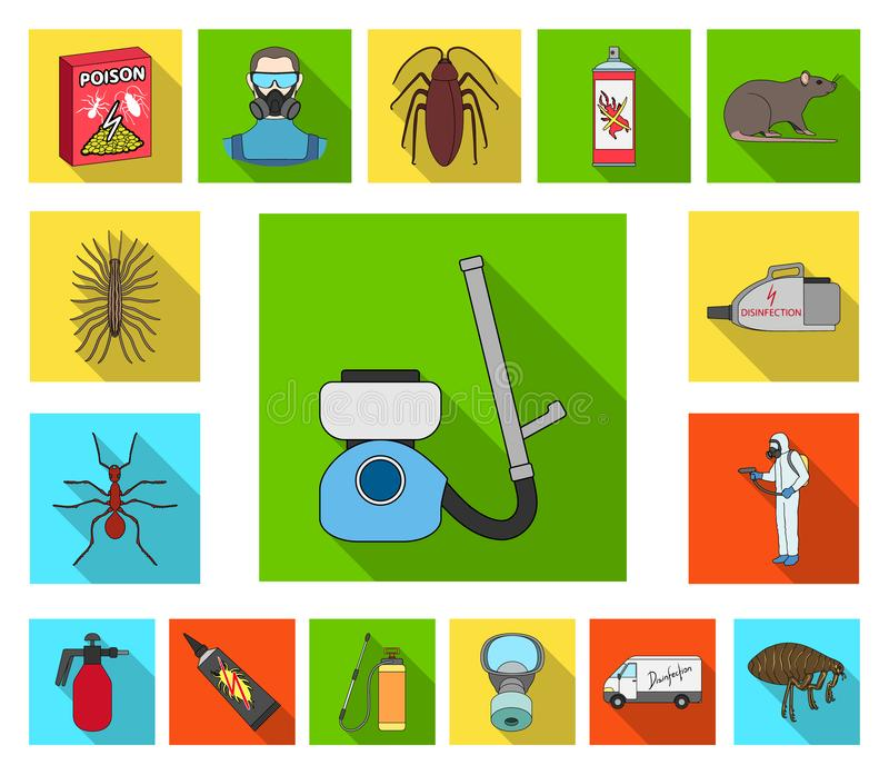 Pest, poison, personnel and equipment flat icons in set collection for design. Pest control service vector symbol stock. Illustration royalty free illustration