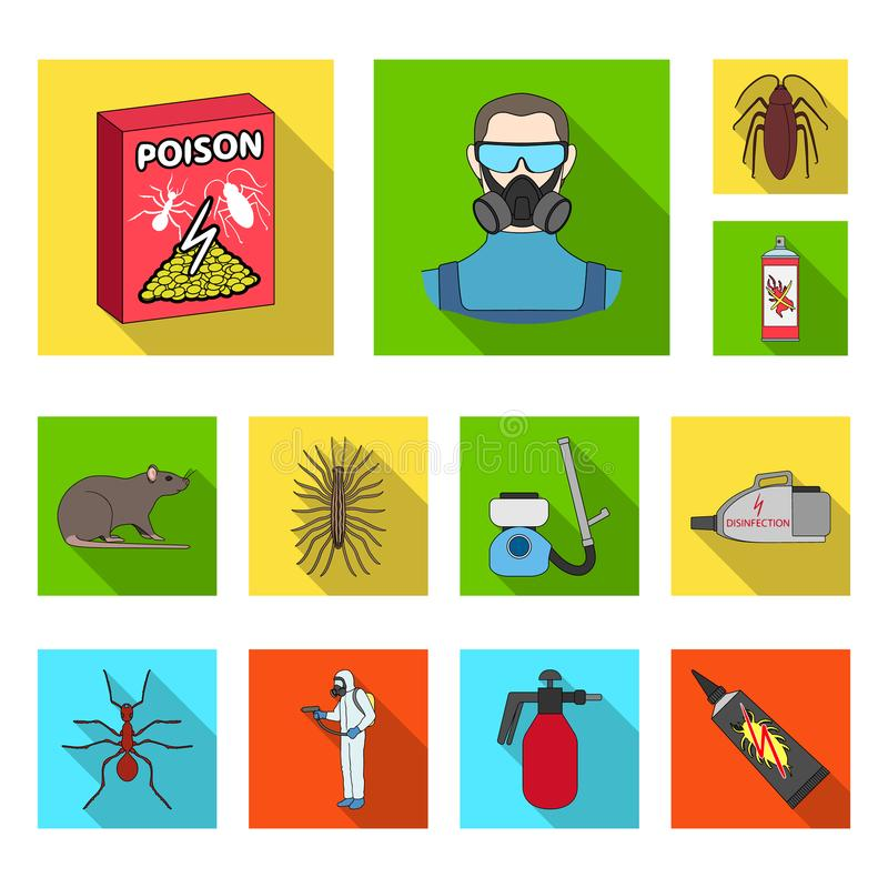 Pest, poison, personnel and equipment flat icons in set collection for design. Pest control service vector symbol stock stock illustration