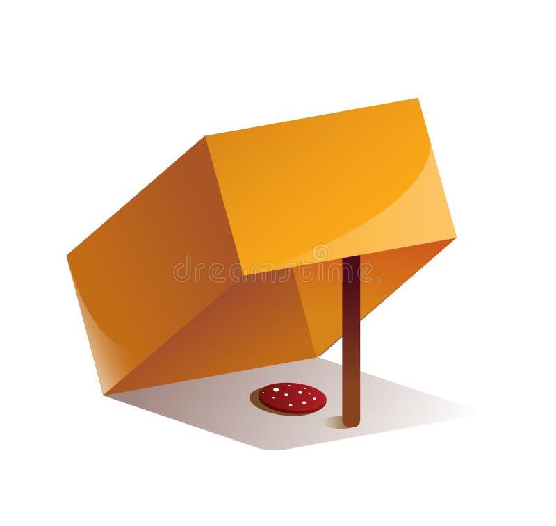 Pestaña animal hecha de caja de cartón, bastón y cebo alimentario stock de ilustración