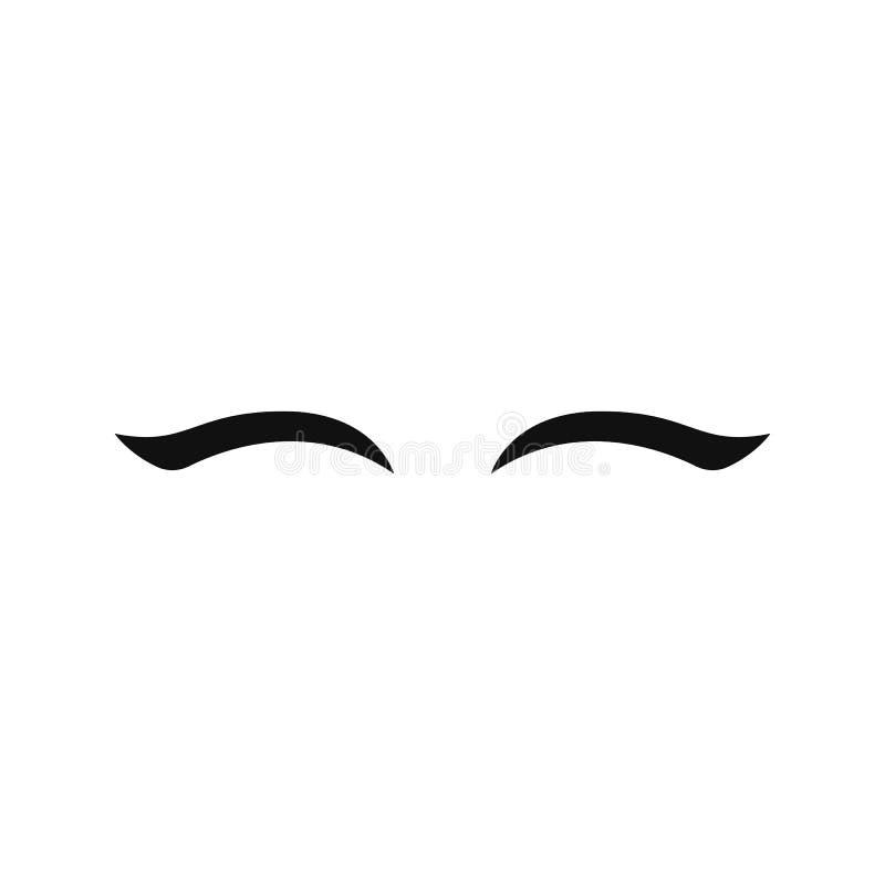 Pestanas do unicórnio do vetor Olhos fechados da mulher Engrena o ícone ilustração royalty free