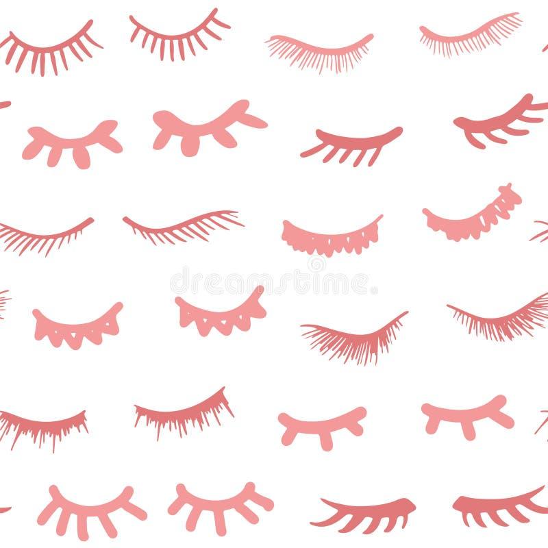 Pestanas dos desenhos animados Olhos fechados da mulher ilustração do vetor