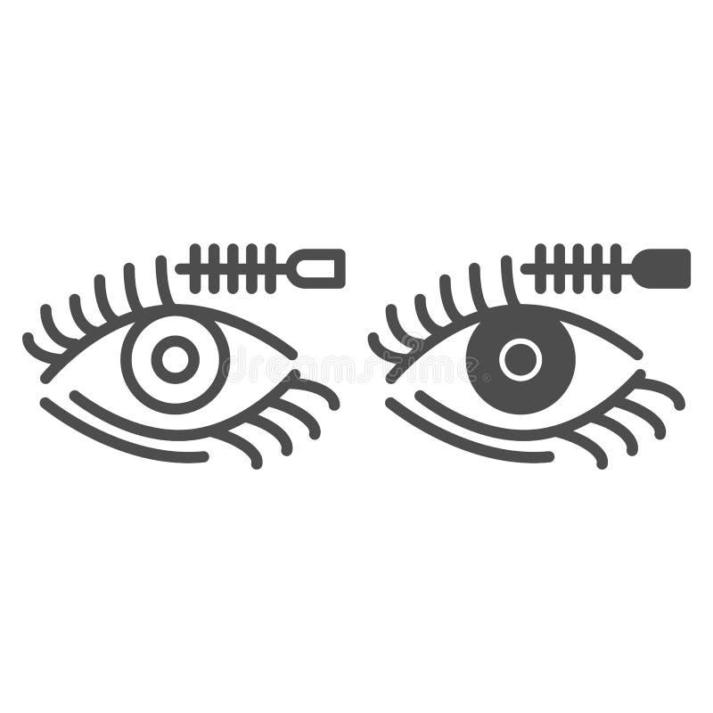 Pestanas e linha da escova e ícone do glyph Ilustração do vetor da composição dos olhos isolada no branco Projeto do estilo do es ilustração stock